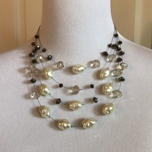 Chico's Multi-Layer Bead & Pearl Necklace